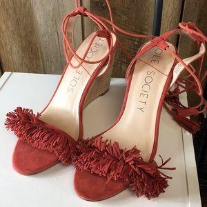 Sole Society Rosea Paprika Fringe Heels Size 7.5